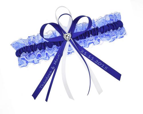 Blaues Strumpfband mit Strassherz und personalisierbarer Schleife.