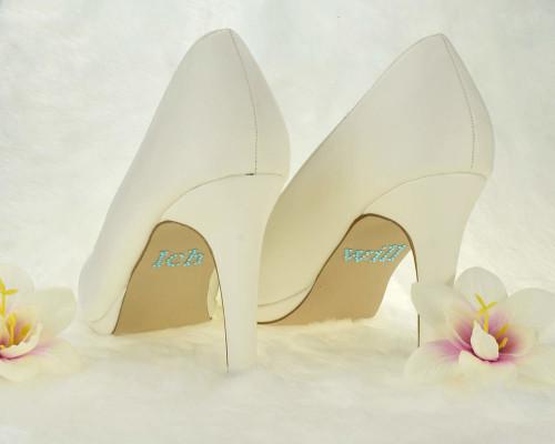 Schuhsticker ich will in Blau