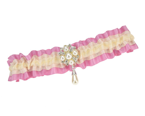 Strumpfband Creme Rosa Perlen