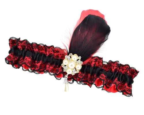 strumpfband rot schwarz federn