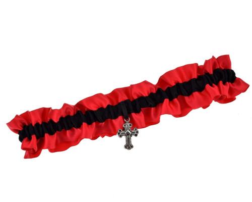 Strumpfband Rot Schwarz Western
