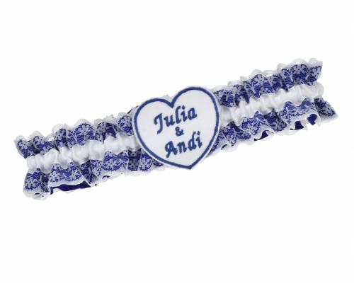 Strumpfband Blau Weiß - mit besticktem Herz