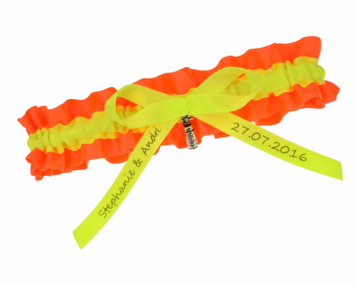 Feuerwehr Strumpfband aus Satin in Orange und Neongelb.