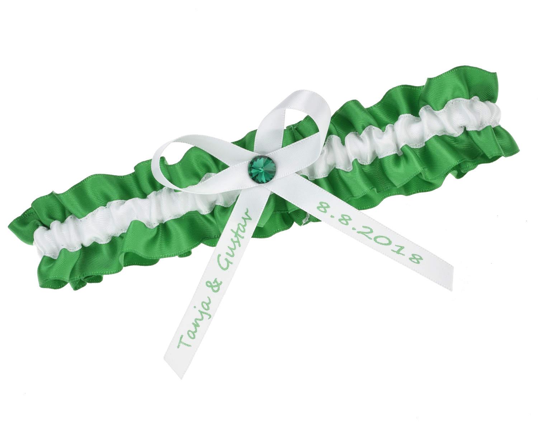 Grune Farbe Namen : Strumpfband Grün Weiß – mit Namen  Strumpfbandde
