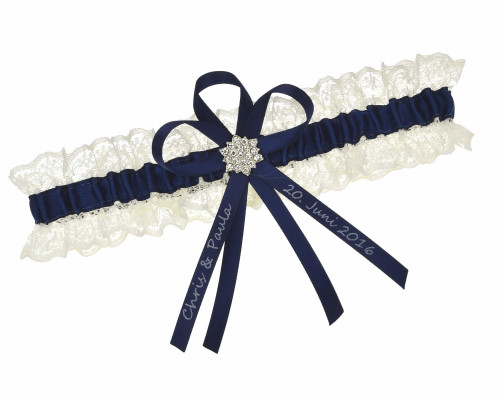 Strumpfband Navy Creme – individuell