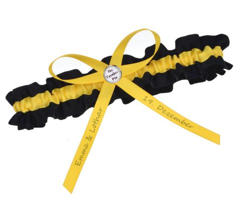 Strumpfband Schwarz Gelb in den Farben vieler Fußballvereine