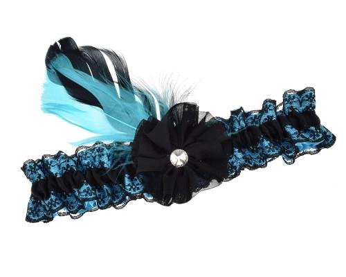 Strumpfband türkis schwarz mit Feder