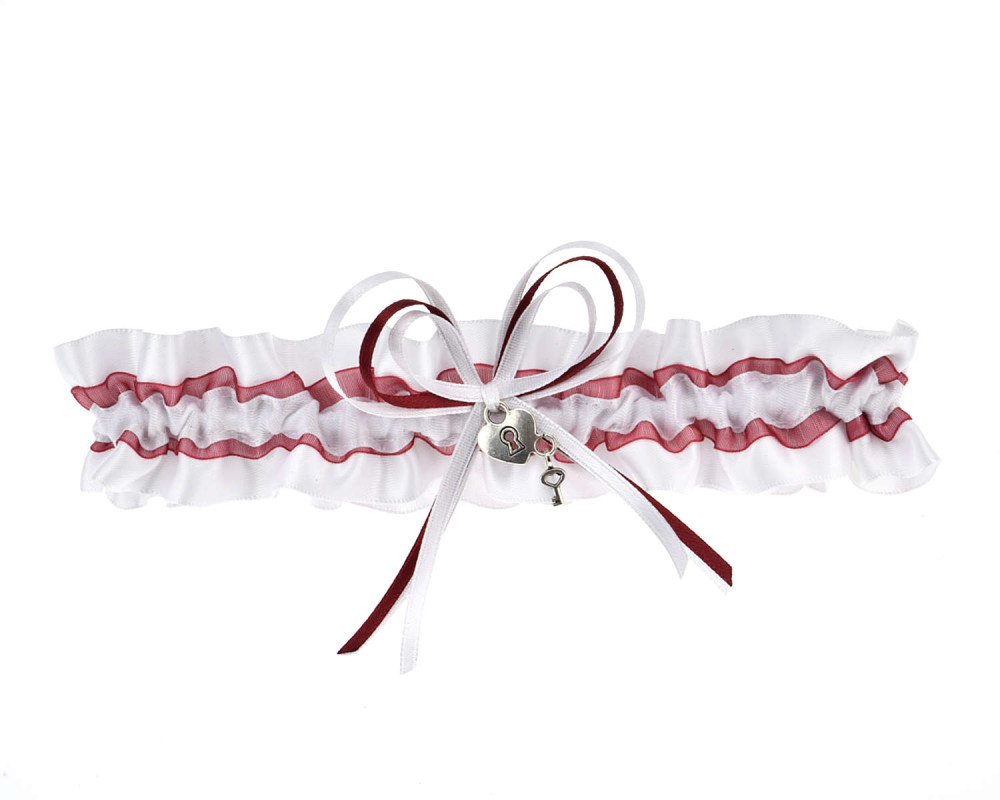 online store 17879 93bd8 Strumpfband Weiß Rot - Charm Wählbar | Strumpfband.de