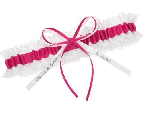 Strumpfband in Pink und Weiß.
