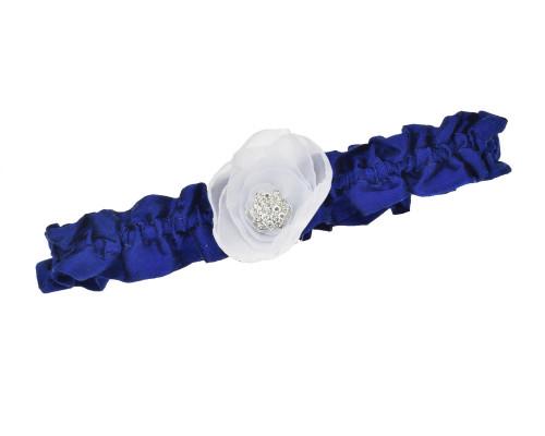 Blaues Strumpfband aus Wildseide