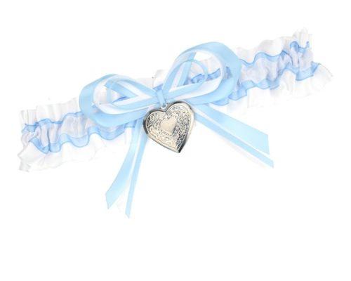 Blaues Strumpfband mit Fotoherz
