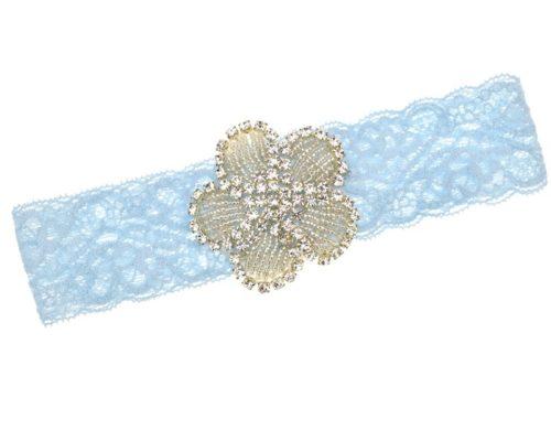 Hellblaues Strumpfband mit Strassblüte,