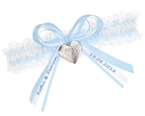 Strumpfband in Hellblau und Weiß - Verziert mit Medallion und beschrifteter Schlefie