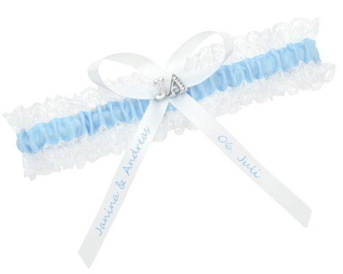 Spitzenstrumpfband verziert mit den Initialen des Brautpaares und einer individuellen Schleife.