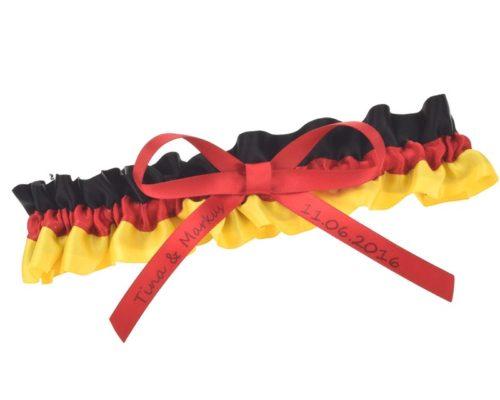 Strumpfband in den Farben der Deutschlandflagge