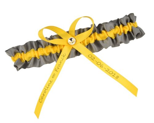 Strumpfband aus Satin in Grau und Gelb.