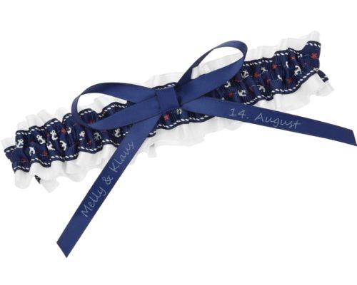 Blau weißes Strumpfband mit Ankermotiv.