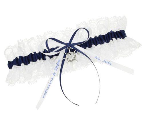 Strumpfband in Weiß und Navy-Blau