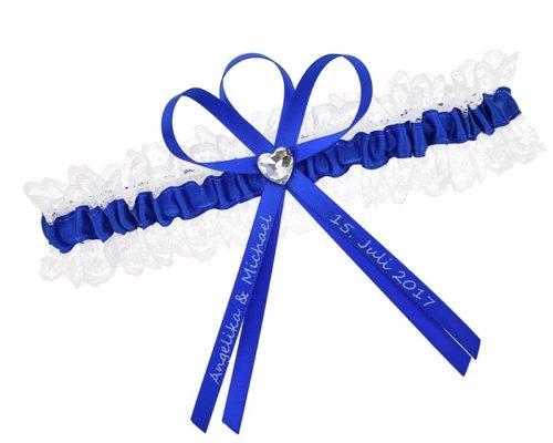 Strumpfband in Blau und Weiß - Gefertigt aus Spitze und Satin