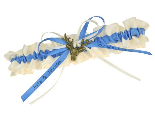Strumpfband in Blau und Creme.